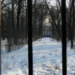 Каменноостровский дворец вдалеке за оградой