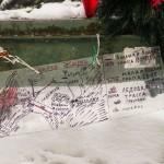 """Карта-схема на зенитном орудии у мемориала """"Разорванное кольцо""""."""
