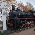 """Паровоз """"Комсомолец"""" на вечной стоянке у станции """"Ладожское озеро""""."""