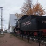 """Паровоз """"Комсомолец"""" на станции """"Ладожское озеро""""."""