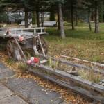 Музей Дорги жизни в поселке Ладожское озеро. Подводы для зерна.