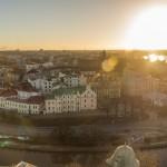 Выборгский замок. Вид на город с башни святого Олафа. Старый город и солнце.