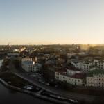 Выборгский замок. Вид на город с башни святого Олафа. Город и его трубы.