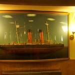 """На ледоколе """"Красин. """"Изображение ледокола на стене в кают-компании."""