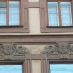 Переулок Джамбула. Доходный дом работы Богусского (1904). Украшение фасада.