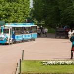 У Павловского дворца. Развлечение для маленьких туристов.