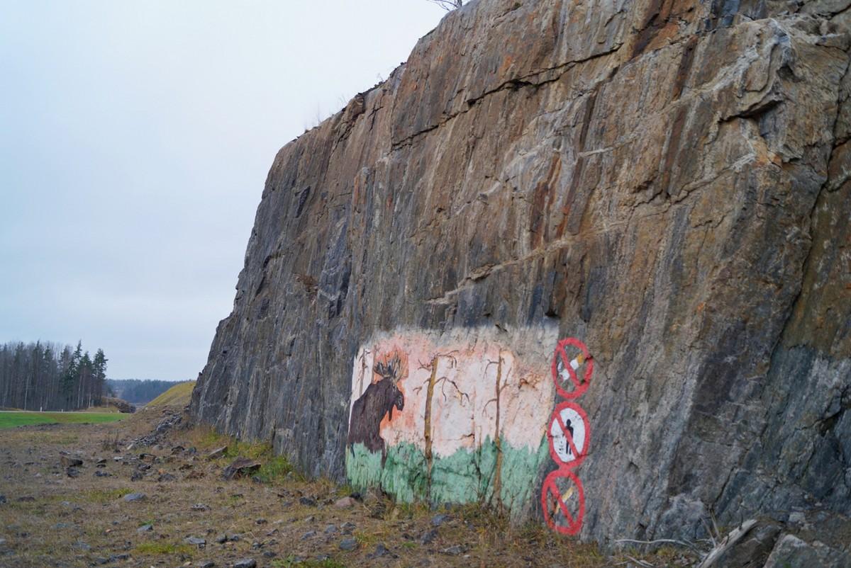 """Наскальная живопись вдоль автодороги А-121 """"Сортавала""""."""