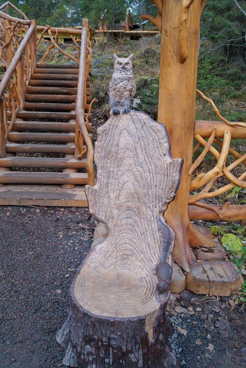 """У входа в лесной парк """"Водопады Ахинкоски. Мудрая сова (филин?)."""