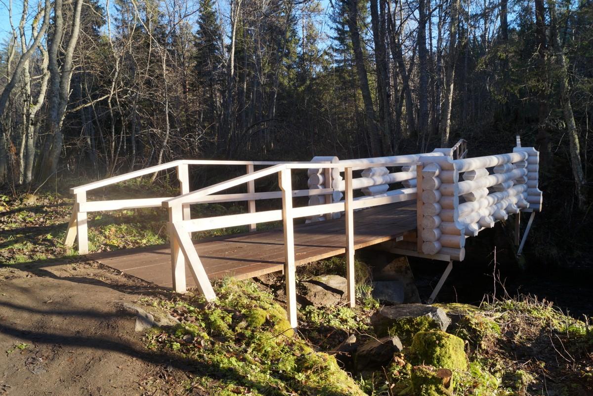 Белый мост через Кулисмайоки над водопадом.