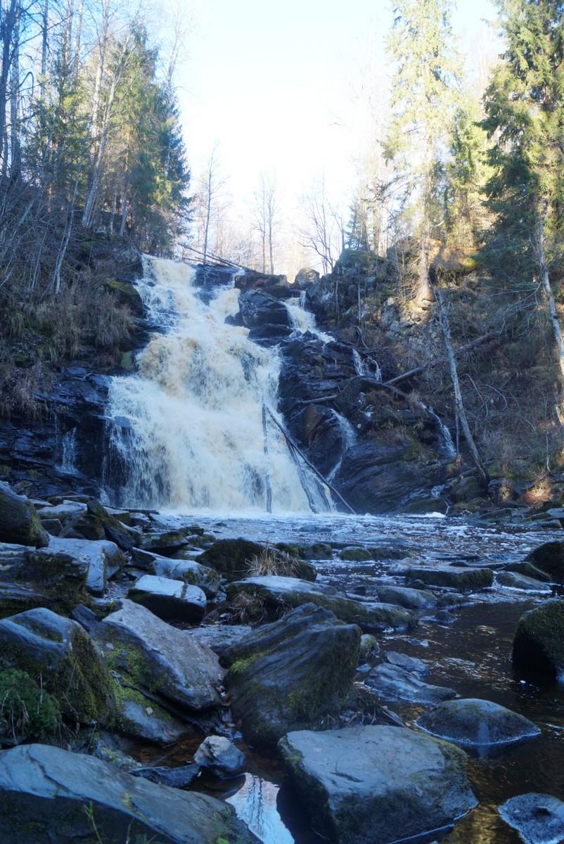 """У водопада """"Белые мосты"""" в Карелии."""