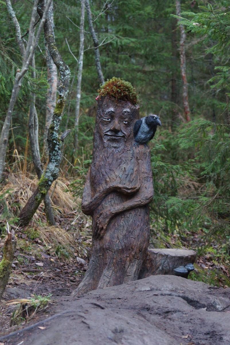 """Лесной парк """"Водопады Ахинкоски. Еще леший? Но добрый и умиротворенный. Наверное, только что пообедал..."""