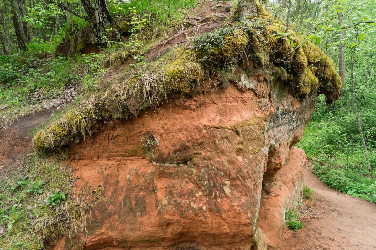 Рождествено. Скалы из красного песчаника.