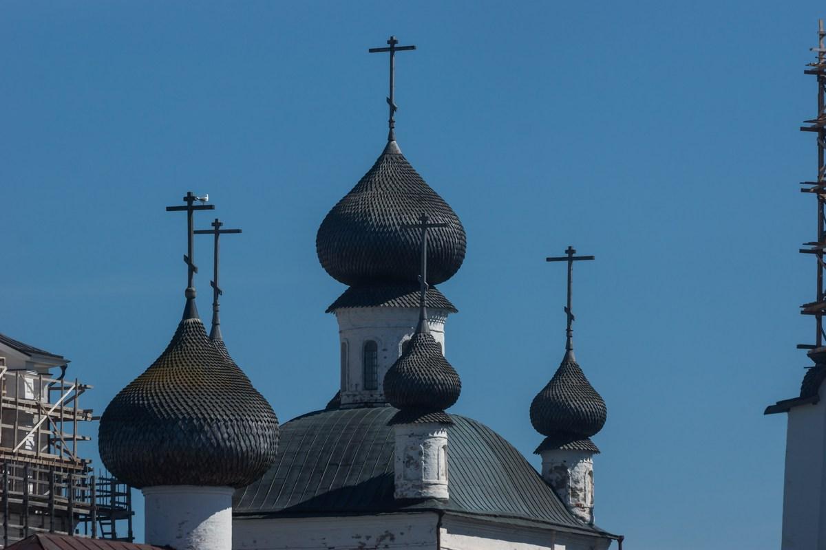 Соловецкий монастырь. Купола Спасо-Преображенского собора.