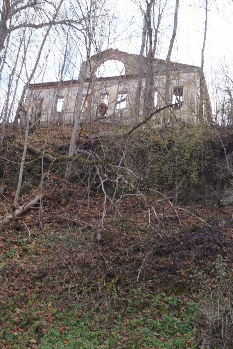 Ленинградская область. Село Лопухинка. Старая усадьба. Вид со дна каньона Лопухинки.