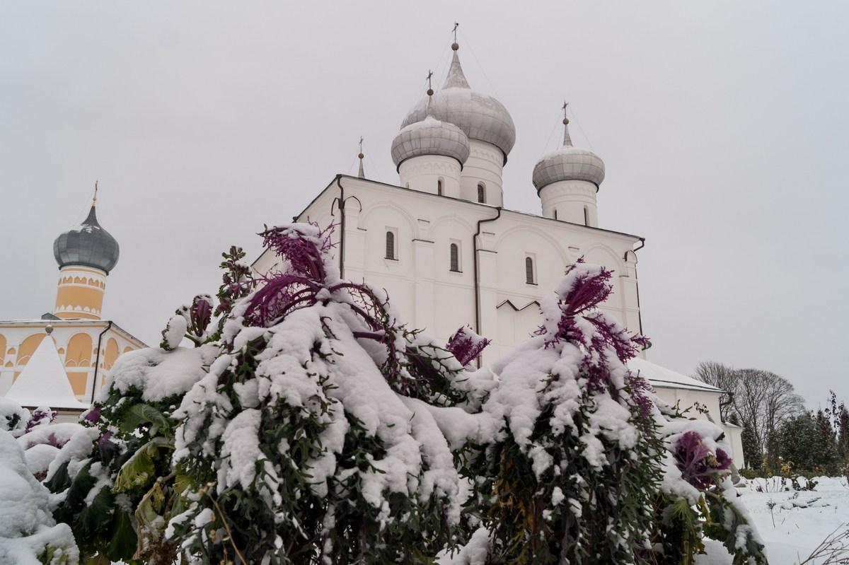 Варлаамо-Хутынский Спасо-Преображенский монастырь под Новгородом. И первый ноябрьский снег.