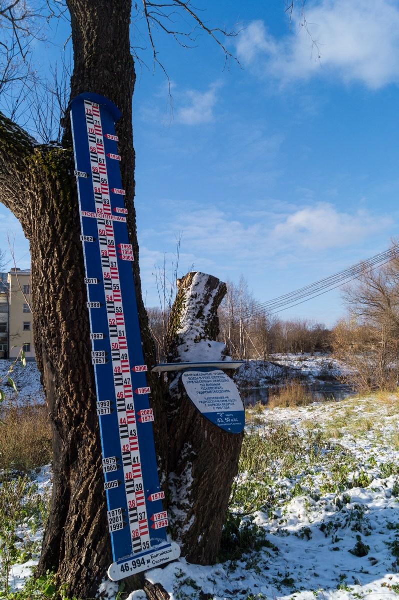 Порхов. Наблюдения гидрологического поста на реке Шелонь в Порхове.