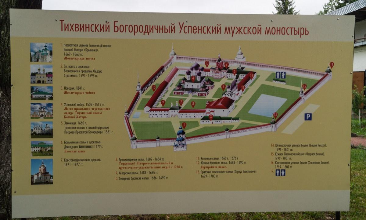 Тихвинский Успенский монастырь. План монастыря-крепости.