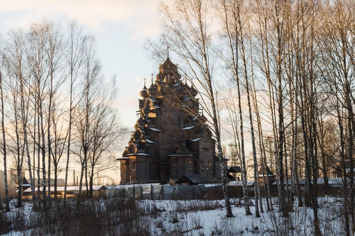 В Невском лесопарке. Вид на Покровскую церковь.