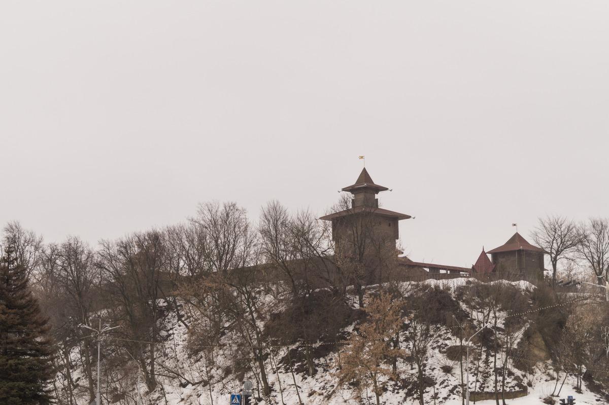 Мозырь. Вид на Замковую гору с берега Припяти.