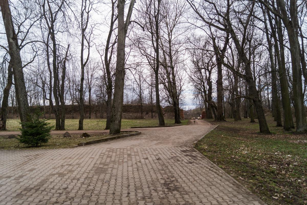Гдов. На территории крепости у собора. Весна еще не пришла в конце апреля.