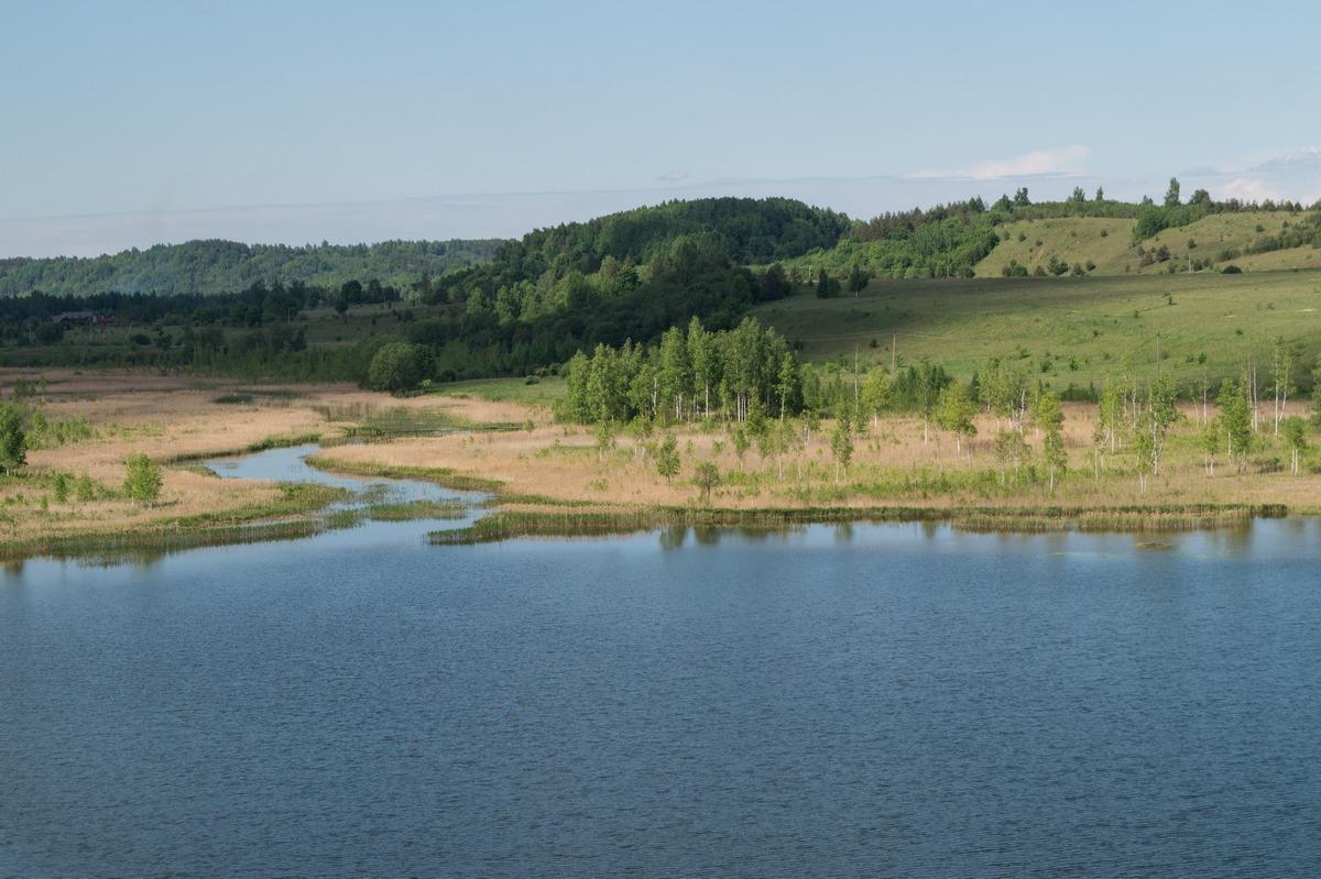 Труворово городище у Изборска. Вид на Городищенское озеро и ручей.