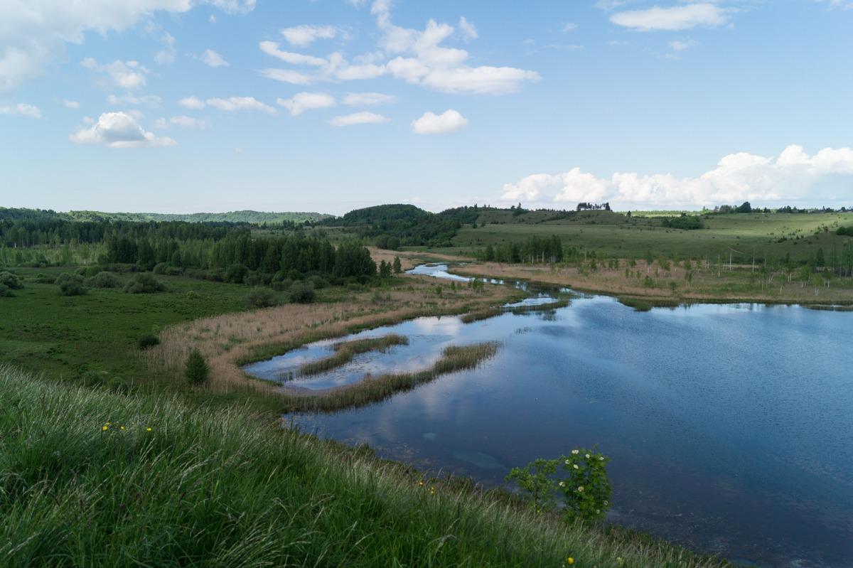 Изборск. Вид с мыса на Городищенское озеро и ручей.