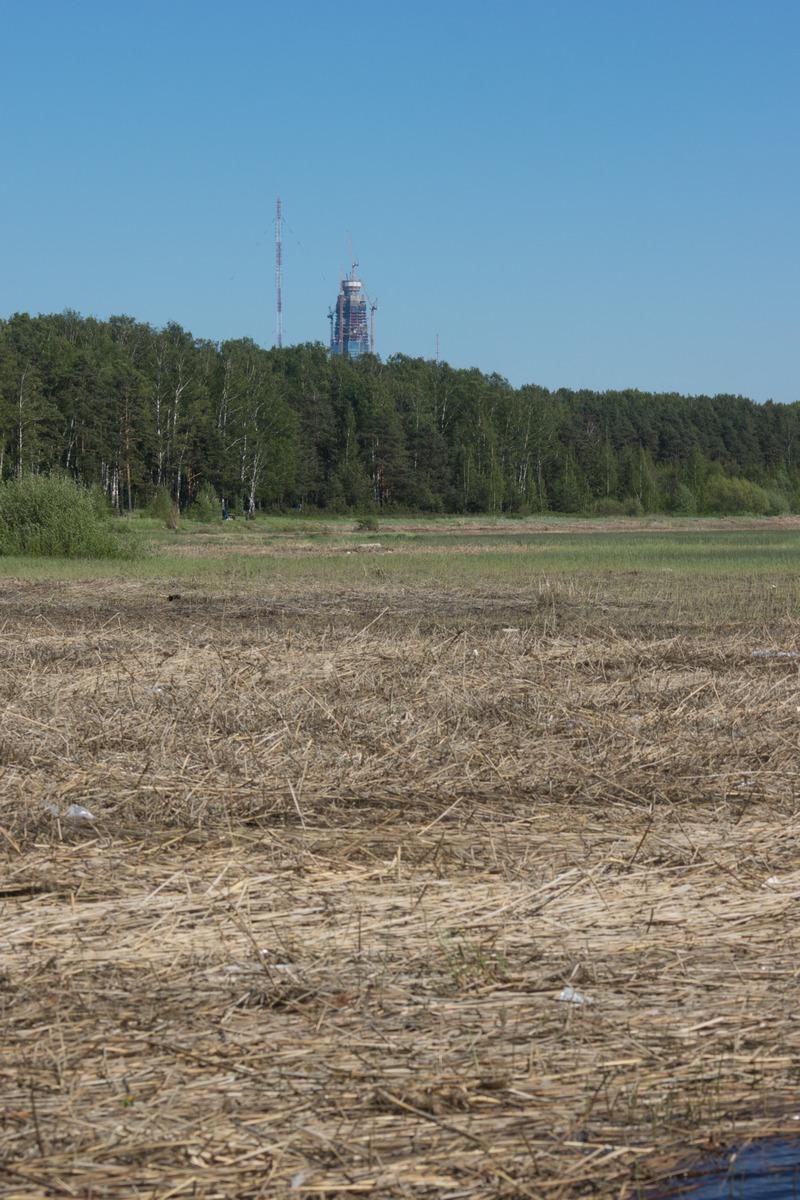 Ольгино. На берегу Финского залива. Вид на башню Лахта-центра.