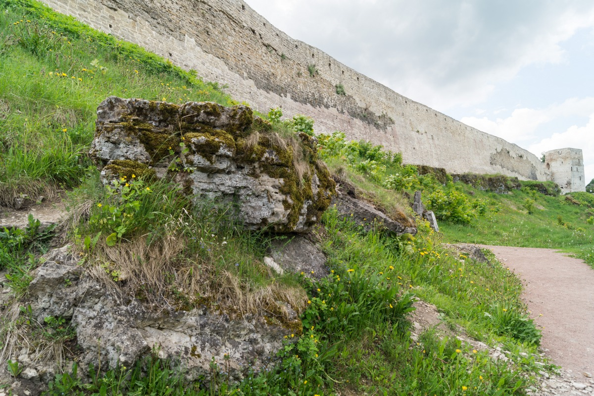 У стен Изборской крепости.