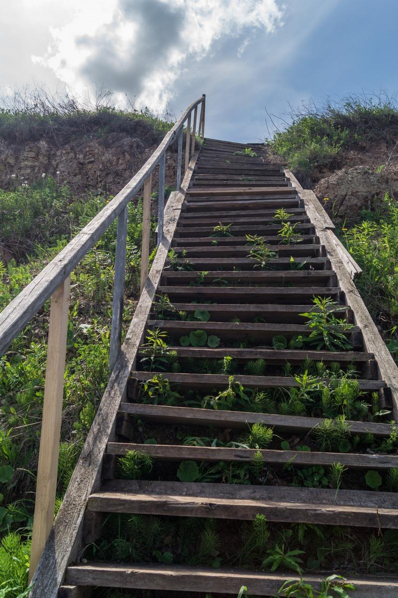 У Ильменя. Лестница к берегу в Ретлё.