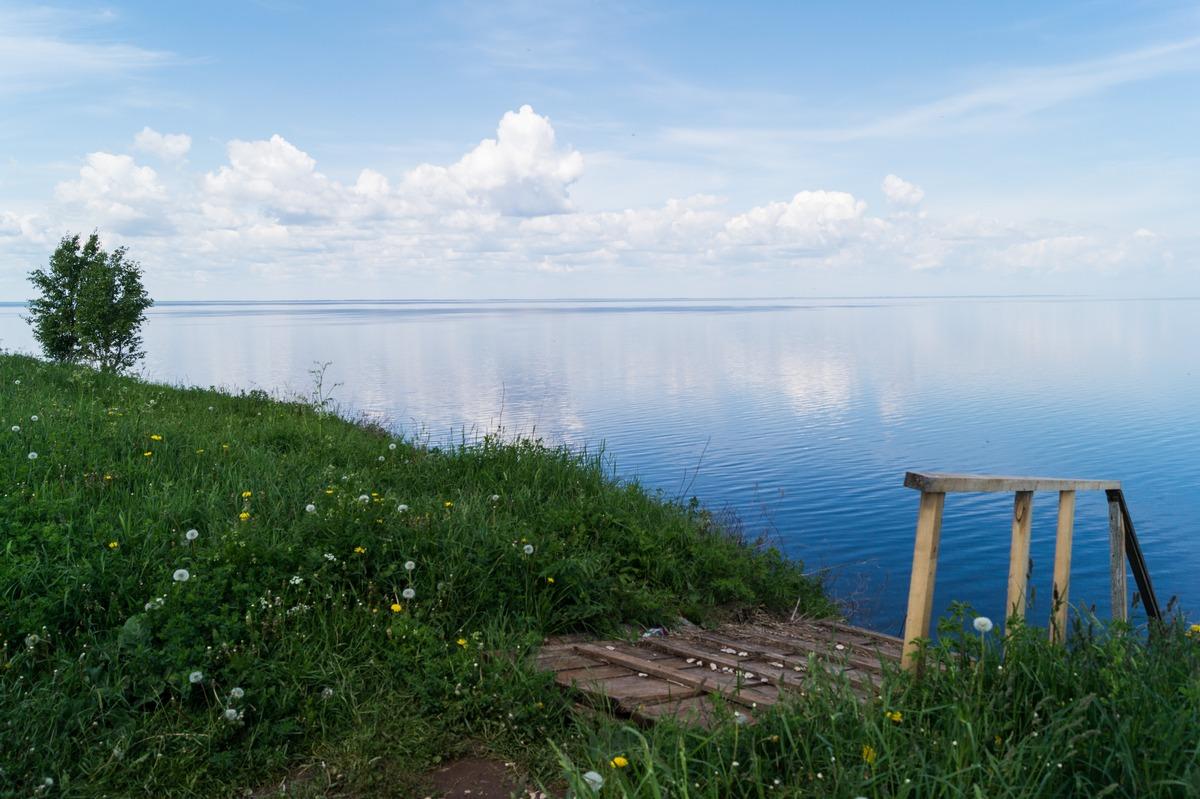 Синий и спокойный Ильмень в июне. У лестницы к берегу.