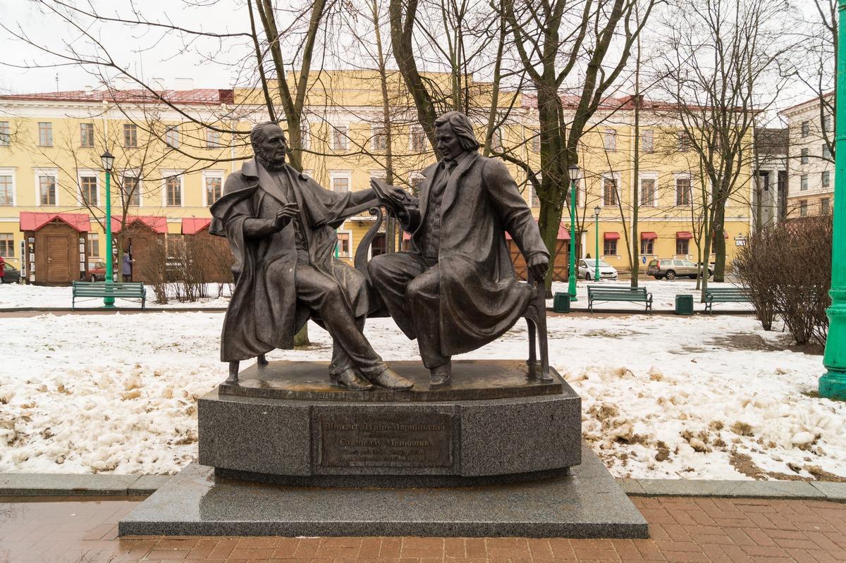 Минск. Верхний Город. Станислав Монюшко и Винцент Дунин-Марцинкевич.