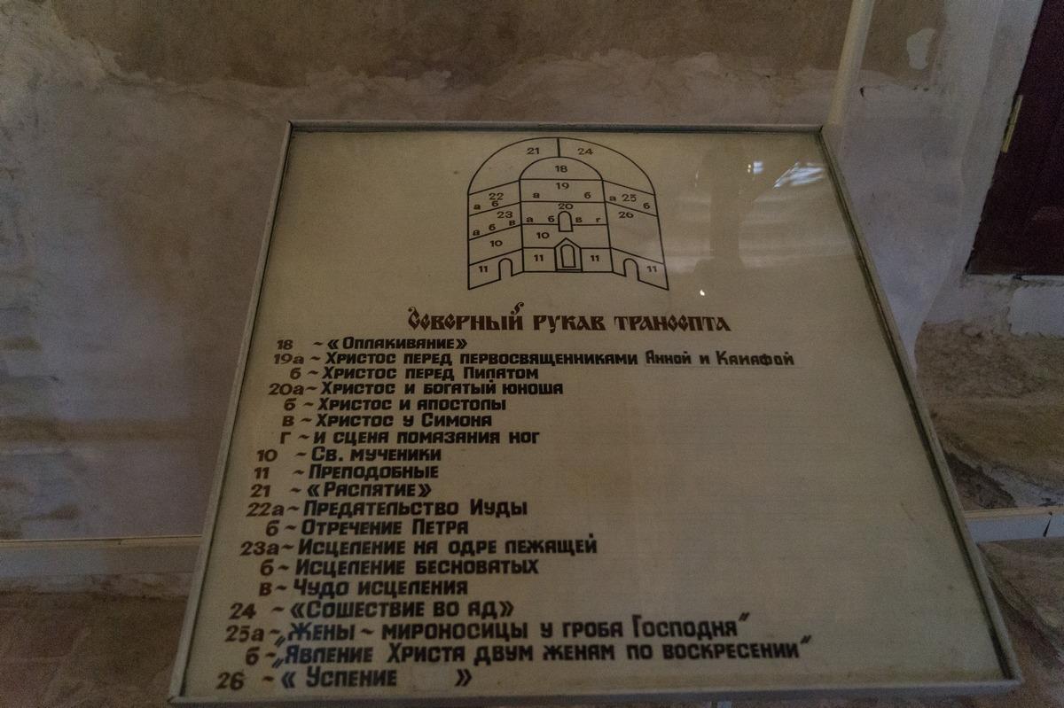 Псков. Спасо-Преображенский собор Мирожского монастыря. Карта-схема фресок собора в одной из частей.
