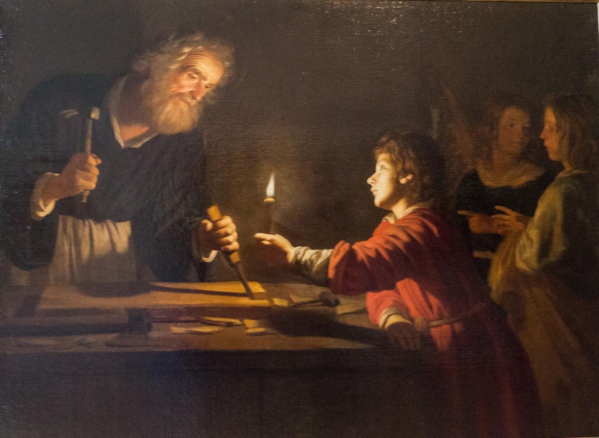 Государственный Эрмитаж.  Деррит ван Хонтхорст. Детство Христа. 1620.