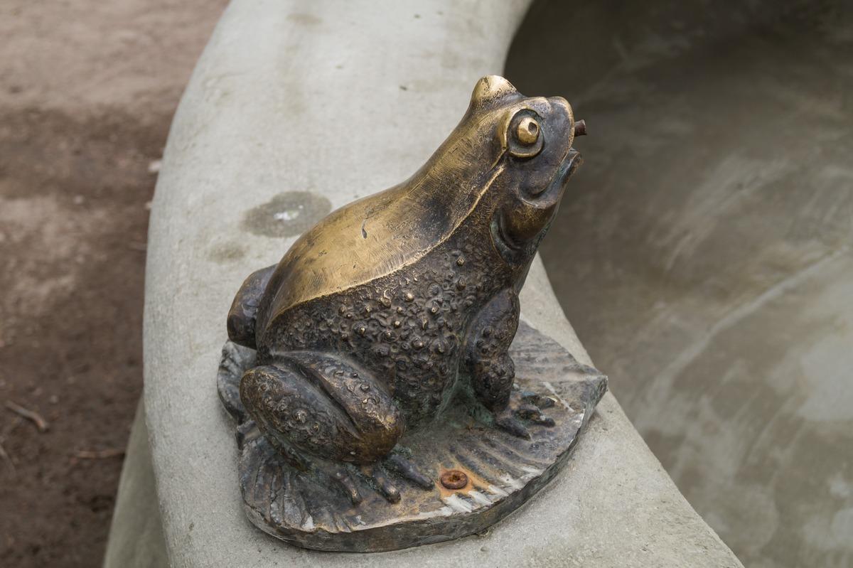 В Никольском саду. Лягушка-скульптура фонтана.