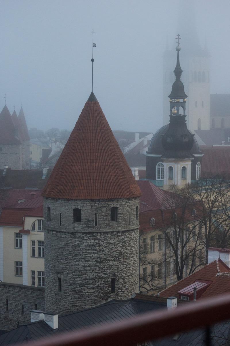 Таллин. Туманное утро. Вид со смотровой площадки у дома Стенбока.