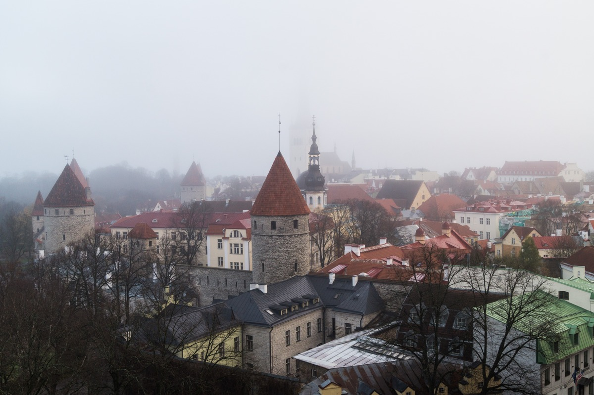 Таллин. Туманное утро. Вид на Нижний город со смотровой площадки у дома Стенбока.