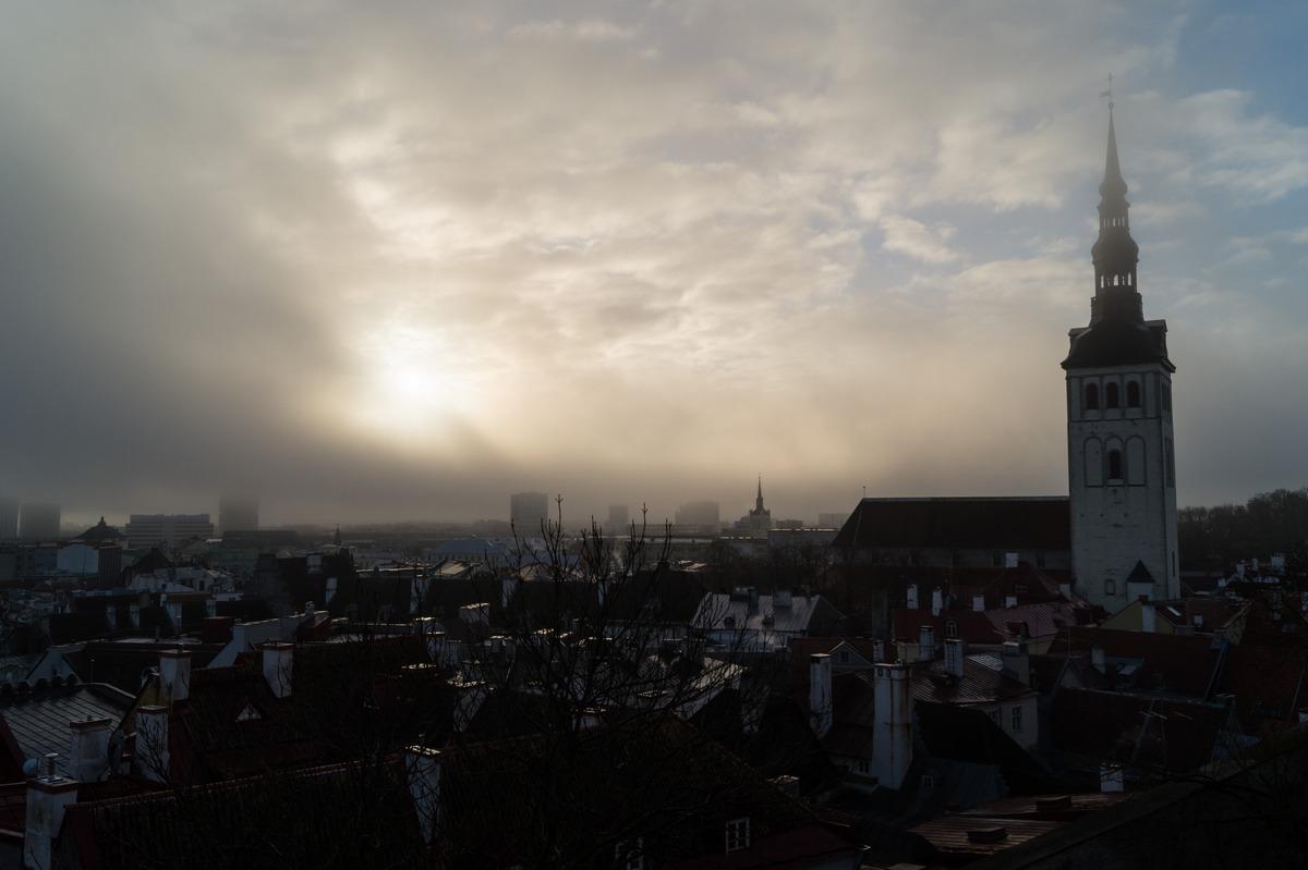 Таллин. Туманное утро. Нижний город и церковь Нигулисте.