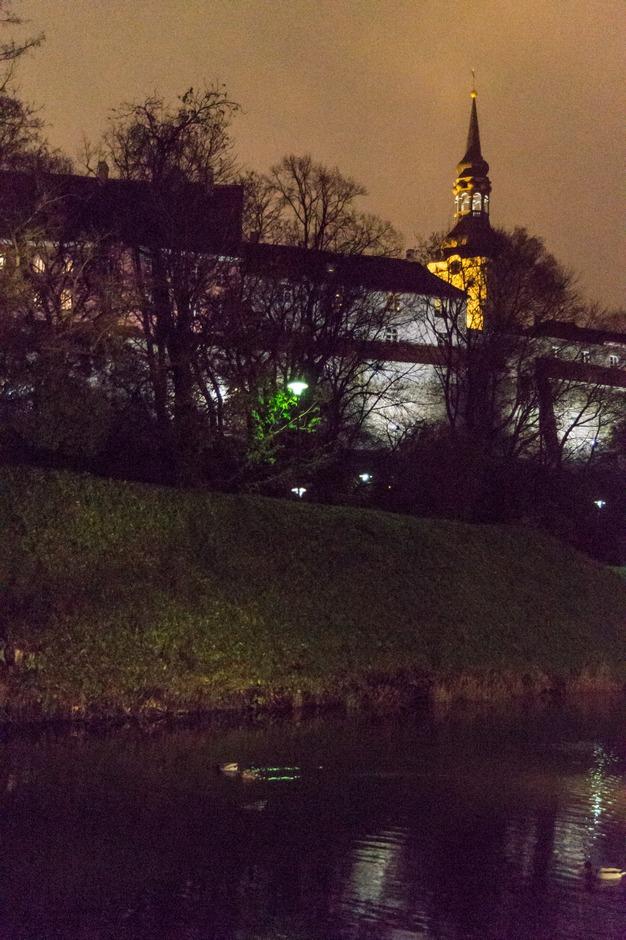 Вечер в Таллине. На пруду Шнелли. Вид на Тоомпеа и Домский собор.
